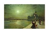 Reflections on the Thames, Westminster, 1880 Giclee Print by John Atkinson Grimshaw