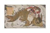 P.375-1937 Oniwaka Mara (Little Demon) Overcoming a Giant Carp, Surimono Diptych, Scene from the… Giclee Print by Toyota Hokkei