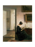 Woman Reading in an Interior Giclée-tryk af Carl Holsoe