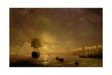 View of Odessa by Moonlight, 1846 Giclée-tryk af Ivan Konstantinovich Aivazovsky