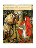 'Little Red Riding Hood', the Wolf Accosting Her in the Forest Gicléedruk van Walter Crane