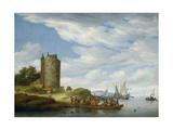 River Estuary with Watchtower Giclee Print by Salomon van Ruisdael or Ruysdael