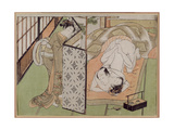 A 'Shunga' (Erotic) Print: Lovers Being Observed by a Maid from Behind a Screen Giclee Print by Isoda Koryusai