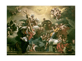 Vision of the Trinity with Ss. Philip Neri and Francesca Romana, 18th Century Giclée-tryk af Francesco Solimena
