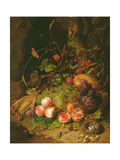 Still Life of Fruit with a Bird's Nest and Insects, 1710 Giclee-trykk av Rachel Ruysch