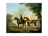 Mr. Crewe's Hunters with a Groom Near a Wooden Barn Giclée-tryk af George Stubbs