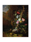 Tree Trunk Surrounded by Flowers, Butterflies and Animals, 1685 Giclee-trykk av Rachel Ruysch