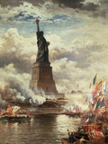 The Unveiling of the Statue of Liberty, Enlightening the World, 1886 Giclée-tryk af Edward Moran