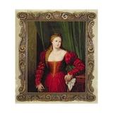 Portrait of Violante, Daughter of Palma Vecchio, 1530-35 Giclée-tryk af Paris Bordone