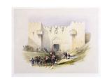 T1212 Gate of Damascus, Jerusalem, April 14th 1839, Plate 3 from Volume I of 'The Holy Land',… Giclée-tryk af David Roberts