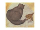 Cat and Kitten Giclée-tryk af Edward Burne-Jones