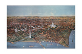 The City of Washington, Bird's Eye View from the Potomac Looking North, 1892 Giclee Print by  Currier & Ives