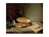 Still Life with Bread, Cheese and a Flagon of Wine Giclée-tryk af Claude Joseph Fraichot