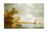 View of the River Lek with Boats and Liesvelt Castle, 1641 Giclee Print by Salomon van Ruisdael or Ruysdael