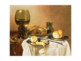 Breakfast Still Life with Roemer, Meat Pie, Lemon and Bread, 1640 Lámina giclée por Pieter Claesz