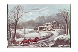 American Winter Evening Scene Giclee-trykk av Currier & Ives,