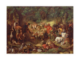 Robin Hood and His Merry Men Entertaining Richard the Lionheart in Sherwood Forest Giclée-tryk af Daniel Maclise