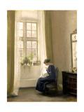 A Girl Sewing in an Interior Gicléetryck av Carl Holsoe