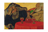 My Father with Uncle Piacsek Drinking Red Wine, 1907 Gicléetryck av Jozsef Rippl-Ronai