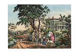 American Country Life - October Afternoon, 1855 Giclee-trykk av Currier & Ives,