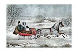 The Road - Winter (Currier and His 2nd Wife, Laura Ormsbee, 1843) Giclee-trykk av Currier & Ives,