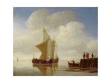 Two Smalschips Off the End of a Pier, C.1700-10 Giclée-Druck von Willem Van De, The Younger Velde