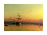 Dead Calm - Sunset at the Bight of Exmouth Giclée-tryk af Francis Danby