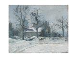 Piette's House at Montfoucault, Snow Effect, 1874 Reproduction procédé giclée par Camille Pissarro