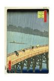 'Sudden Shower at Ohashi Bridge at Ataka', ('Ohashi, Atake No Yudachi') from the Series '100… Giclee Print by Ando Hiroshige
