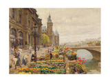 The Parisian Flower Market Giclee Print by Marie Francois Firmin-Girard