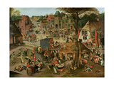 Village Festival in Honour of St. Hubert and St. Anthony, 1632 Giclée-tryk af Pieter Brueghel the Younger
