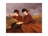 On the Downs - Two Ladies Riding Side-Saddle Giclee Print by James Hayllar