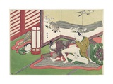 A 'Shunga', from a Series of Twenty Four Erotic Prints: Lovers with a Child Looking On, 1725-70 Giclee Print by Suzuki Harunobu