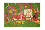 Painting Lazarine and Anella in the Park. it's Hot, 1910 Gicléetryck av Jozsef Rippl-Ronai