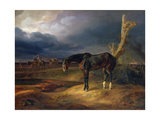 Ownerless Horse on the Battlefield at Moshaisk in 1812, 1834 Giclée-tryk af Albrecht Adam
