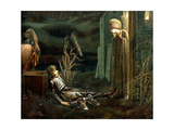 The Dream of Sir Lancelot at the Chapel of the Holy Grail, 1896 Giclée-tryk af Edward Burne-Jones