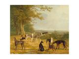 Nine Greyhounds in a Landscape Lámina giclée por Agasse, Jacques-Laurent