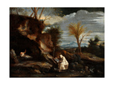 Landscape with Two Carthusian Monks Giclée-tryk af Pier Francesco Mola