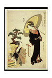 P.352-1945 Scene 5, Comparison of Celebrated Beauties and the Loyal League, C.1797 Giclée-tryk af Kitagawa Utamaro