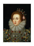 Portrait of Queen Elizabeth I (1533-1603) Giclée-tryk af Nicholas Hilliard