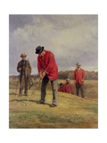 George Glennie Putting at Blackheath with Putting Cleek, 1881 Giclee Print by Heywood Hardy