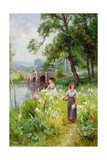 Picking Flowers by the River Giclee Print by Ernest Walbourn