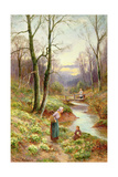 Picking Primroses by the Stream Giclee Print by Ernest Walbourn