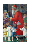 Father Christmas with Children Giclee Print by Karl Roger