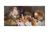 Still Life with Flowers and Fruit on a Table Lámina giclée por Alfred Petit