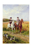 Couple Riding with their Dogs Giclee Print by Heywood Hardy