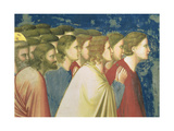 The Virgin's Suitors Praying before the Rods in the Temple, C.1305 (Detail) Giclée-tryk af  Giotto di Bondone