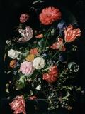 Flowers in a Glass Vase, C.1660 Giclée-tryk af Jan Davidsz. de Heem