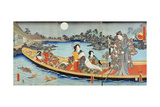 Triptych Depicting a Prince, Princess and Court Ladies Boating on a Garden Pond under a Full Moon… Giclée-Druck von Utagawa Kunisada