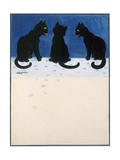 Black Cats in the Snow Reproduction procédé giclée par Louis Wain